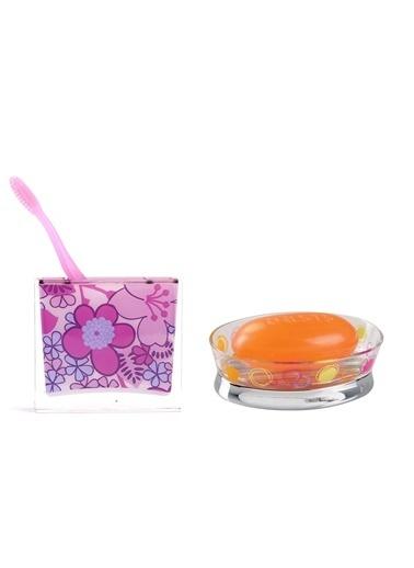 Bosphorus 2'Li Çiçekli Desen Diş Fırçalık Ve Renkli Halkalı Desen Oval Sabunluklu Banyo Seti Pembe